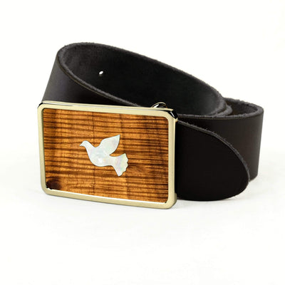Thalia Belts AAA Curly Hawaiian Koa & Pearl Dove Inlay | Premium Leather Belt 24K Gold / Black / 32
