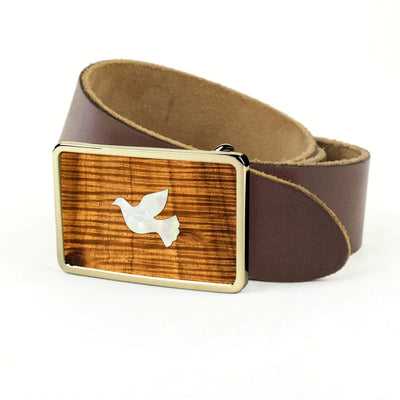 Thalia Belts AAA Curly Hawaiian Koa & Pearl Dove Inlay | Premium Leather Belt 24K Gold / Dark Brown / 32