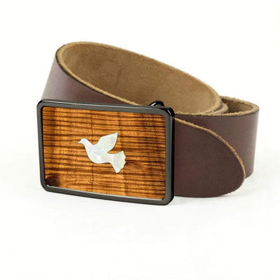 Thalia Belts AAA Curly Hawaiian Koa & Pearl Dove Inlay | Premium Leather Belt Black Chrome / Dark Brown / 32