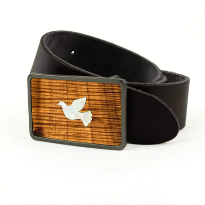 Thalia Belts AAA Curly Hawaiian Koa & Pearl Dove Inlay | Premium Leather Belt Brushed Black / Black / 36