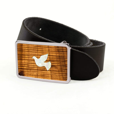 Thalia Belts AAA Curly Hawaiian Koa & Pearl Dove Inlay | Premium Leather Belt Chrome / Black / 32