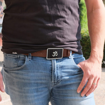 Thalia Belts AAA Curly Hawaiian Koa & Pearl OM Inlay | Premium Leather Belt