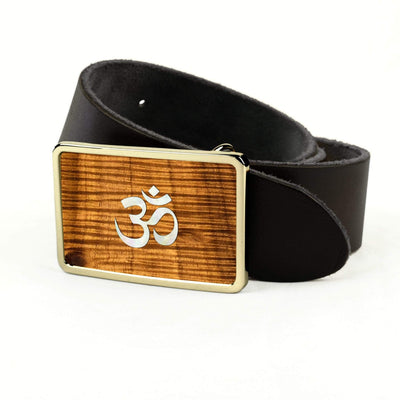 Thalia Belts AAA Curly Hawaiian Koa & Pearl OM Inlay | Premium Leather Belt 24K Gold / Black / 32
