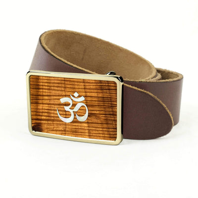 Thalia Belts AAA Curly Hawaiian Koa & Pearl OM Inlay | Premium Leather Belt 24K Gold / Dark Brown / 32