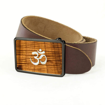 Thalia Belts AAA Curly Hawaiian Koa & Pearl OM Inlay | Premium Leather Belt Black Chrome / Dark Brown / 32