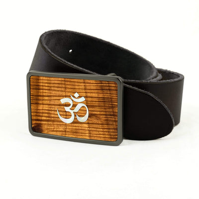 Thalia Belts AAA Curly Hawaiian Koa & Pearl OM Inlay | Premium Leather Belt Brushed Black / Black / 32