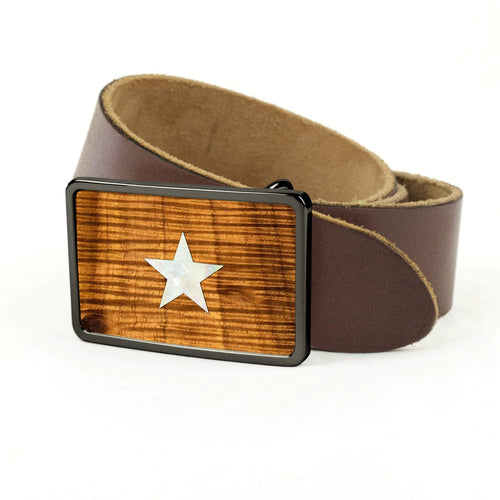 Thalia Belts AAA Curly Hawaiian Koa & Pearl Star Inlay | Premium Leather Belt Black Chrome / Black / 32
