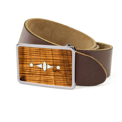 Thalia Belts AAA Curly Hawaiian Koa & Taylor 500 Series Century | Premium Leather Belt Chrome / Dark Brown / 26