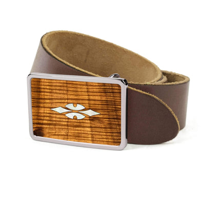 Thalia Belts AAA Curly Hawaiian Koa & Taylor 700 Series Reflections | Premium Leather Belt Chrome / Dark Brown / 26