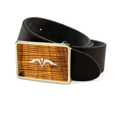 Thalia Belts AAA Curly Hawaiian Koa & Taylor 900 Series Ascension  | Premium Leather Belt 24K Gold / Black / 26