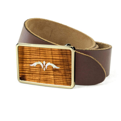 Thalia Belts AAA Curly Hawaiian Koa & Taylor 900 Series Ascension  | Premium Leather Belt 24K Gold / Dark Brown / 26