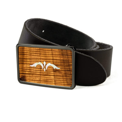 Thalia Belts AAA Curly Hawaiian Koa & Taylor 900 Series Ascension  | Premium Leather Belt Black Chrome / Black / 26
