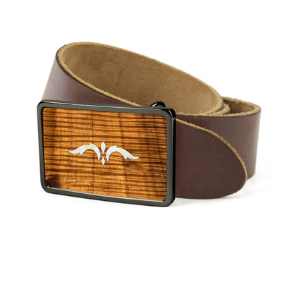 Thalia Belts AAA Curly Hawaiian Koa & Taylor 900 Series Ascension  | Premium Leather Belt Black Chrome / Dark Brown / 26