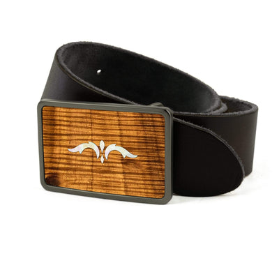 Thalia Belts AAA Curly Hawaiian Koa & Taylor 900 Series Ascension  | Premium Leather Belt Brushed Black / Black / 26