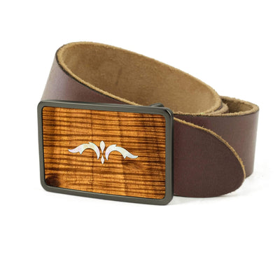 Thalia Belts AAA Curly Hawaiian Koa & Taylor 900 Series Ascension  | Premium Leather Belt Brushed Black / Dark Brown / 26
