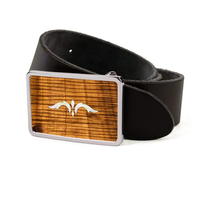 Thalia Belts AAA Curly Hawaiian Koa & Taylor 900 Series Ascension  | Premium Leather Belt Chrome / Black / 26