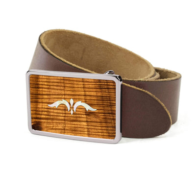Thalia Belts AAA Curly Hawaiian Koa & Taylor 900 Series Ascension  | Premium Leather Belt Chrome / Dark Brown / 26