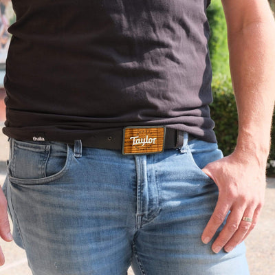 Thalia Belts AAA Curly Hawaiian Koa & Taylor Pearl Logo | Premium Leather Belt