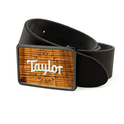 Thalia Belts AAA Curly Hawaiian Koa & Taylor Pearl Logo | Premium Leather Belt Black Chrome / Black / 26