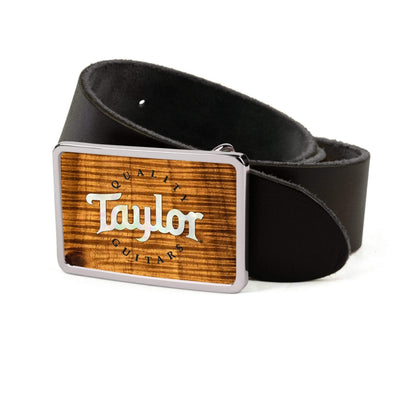Thalia Belts AAA Curly Hawaiian Koa & Taylor Pearl Logo | Premium Leather Belt Chrome / Black / 26