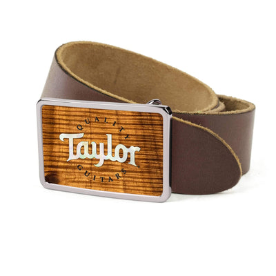 Thalia Belts AAA Curly Hawaiian Koa & Taylor Pearl Logo | Premium Leather Belt Chrome / Dark Brown / 26