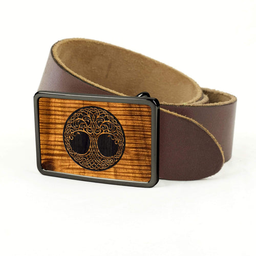 Thalia Belts AAA Curly Hawaiian Koa & Tree Of Life Engraving | Premium Leather Belt Black Chrome / Black / 32
