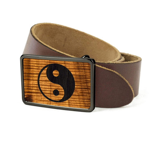 Thalia Belts AAA Curly Hawaiian Koa & YinYang Engraving | Premium Leather Belt Black Chrome / Black / 32