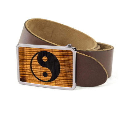 Thalia Belts AAA Curly Hawaiian Koa & YinYang Engraving | Premium Leather Belt Chrome / Dark Brown / 32