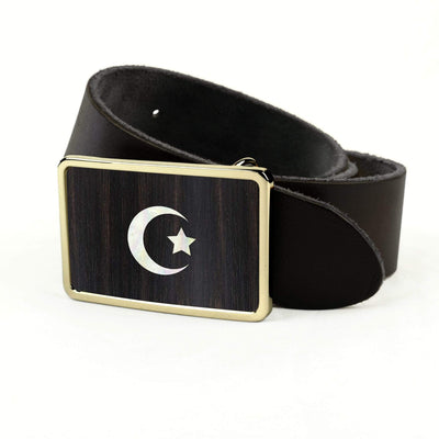 Thalia Belts Black Ebony & Pearl Crescent Moon & Star Inlay | Premium Leather Belt 24K Gold / Black / 32