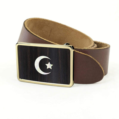 Thalia Belts Black Ebony & Pearl Crescent Moon & Star Inlay | Premium Leather Belt 24K Gold / Dark Brown / 32