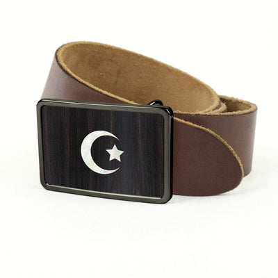 Thalia Belts Black Ebony & Pearl Crescent Moon & Star Inlay | Premium Leather Belt Black Chrome / Dark Brown / 32