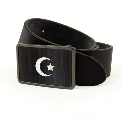 Thalia Belts Black Ebony & Pearl Crescent Moon & Star Inlay | Premium Leather Belt Brushed Black / Black / 32