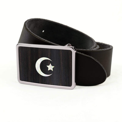 Thalia Belts Black Ebony & Pearl Crescent Moon & Star Inlay | Premium Leather Belt Chrome / Black / 32