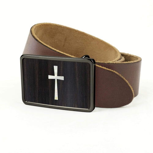 Thalia Belts Black Ebony & Pearl Cross Inlay | Premium Leather Belt Black Chrome / Black / 32
