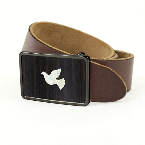 Thalia Belts Black Ebony & Pearl Dove Inlay | Premium Leather Belt Black Chrome / Black / 32