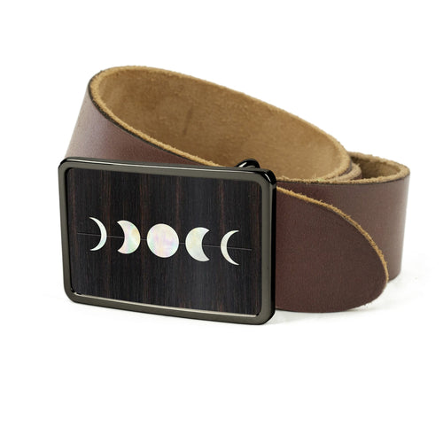Thalia Belts Black Ebony & Pearl Moon Phases Inlay | Premium Leather Belt Black Chrome / Black / 32