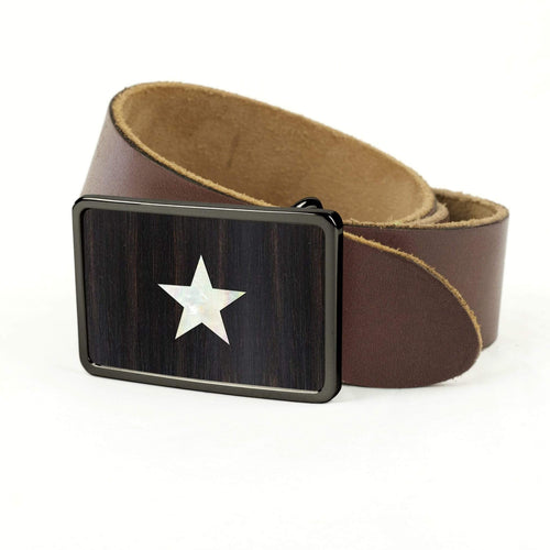 Thalia Belts Black Ebony & Pearl Star Inlay | Premium Leather Belt Black Chrome / Black / 32