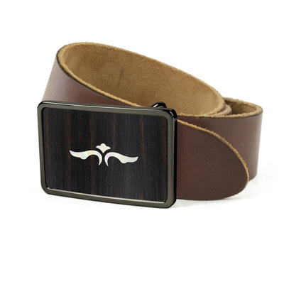 Thalia Belts Black Ebony & Taylor 600 Series Wings | Premium Leather Belt Black Chrome / Dark Brown / 26