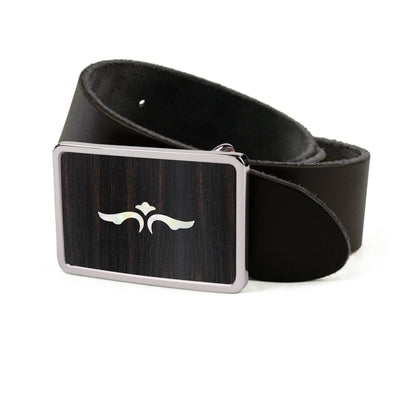 Thalia Belts Black Ebony & Taylor 600 Series Wings | Premium Leather Belt Chrome / Black / 26