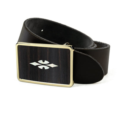 Thalia Belts Black Ebony & Taylor 700 Series Reflections | Premium Leather Belt 24K Gold / Black / 26