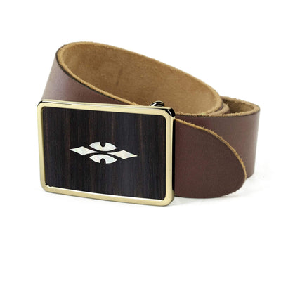 Thalia Belts Black Ebony & Taylor 700 Series Reflections | Premium Leather Belt 24K Gold / Dark Brown / 26