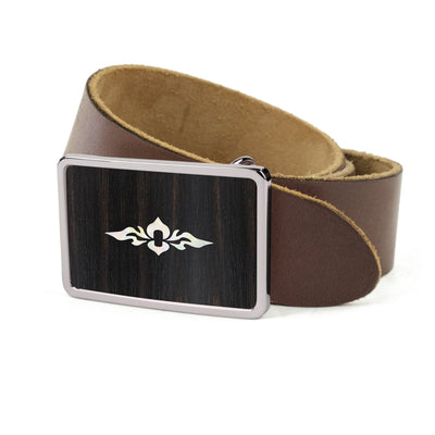 Thalia Belts Black Ebony & Taylor 800 Series (2004 - 2013) | Premium Leather Belt Chrome / Dark Brown / 26