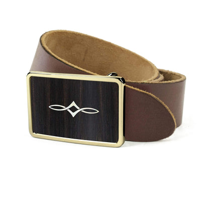 Thalia Belts Black Ebony & Taylor Twisted Ovals | Premium Leather Belt 24K Gold / Dark Brown / 26