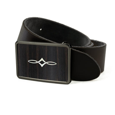 Thalia Belts Black Ebony & Taylor Twisted Ovals | Premium Leather Belt Black Chrome / Black / 26