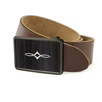 Thalia Belts Black Ebony & Taylor Twisted Ovals | Premium Leather Belt Black Chrome / Dark Brown / 26
