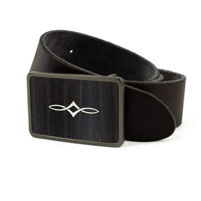 Thalia Belts Black Ebony & Taylor Twisted Ovals | Premium Leather Belt Brushed Black / Black / 26