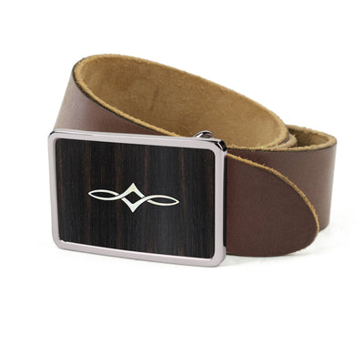 Thalia Belts Black Ebony & Taylor Twisted Ovals | Premium Leather Belt Chrome / Dark Brown / 26
