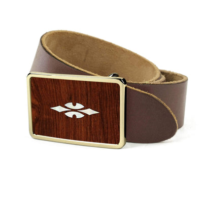 Thalia Belts Indian Rosewood & Taylor 700 Series Reflections | Premium Leather Belt 24K Gold / Dark Brown / 26