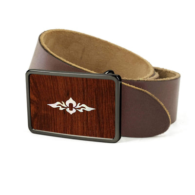 Thalia Belts Indian Rosewood & Taylor 800 Series (2004 - 2013) | Premium Leather Belt Black Chrome / Dark Brown / 26