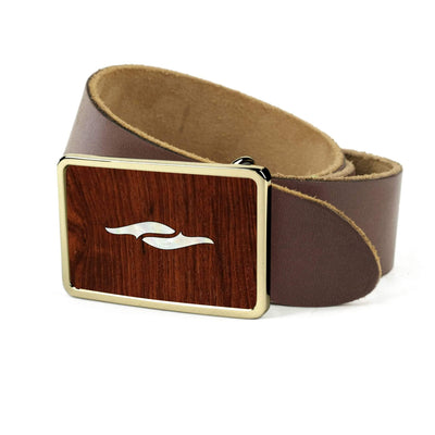 Thalia Belts Indian Rosewood & Taylor 800 Series Element | Premium Leather Belt 24K Gold / Dark Brown / 26